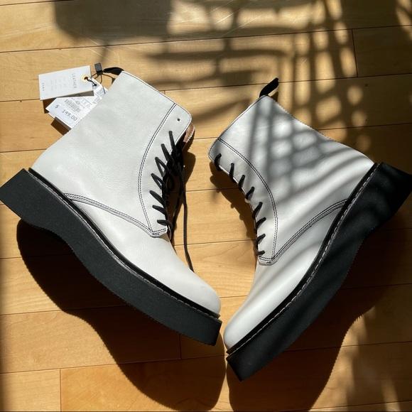 ZARA// leather platform ankle boots